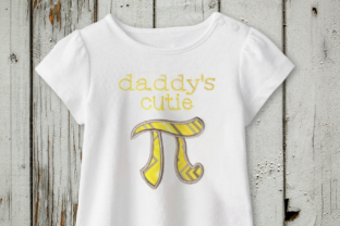 Daddy's Cutie Pi Symbol Applique Father Embroidery Design By DesignedByGeeks