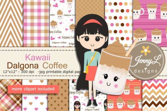 Dalgona Coffee DIgital Papers & Clipart Graphic Patterns By jennyL_designs