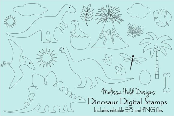 Download Free Dinosaur Digital Stamps Clipart Graphic By Melissa Held Designs for Cricut Explore, Silhouette and other cutting machines.