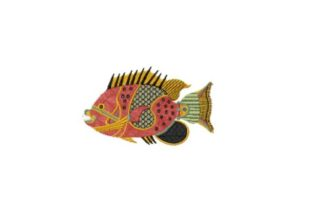 Douwing-admiral Plate Fish & Shells Embroidery Design By Red Moon Gardens