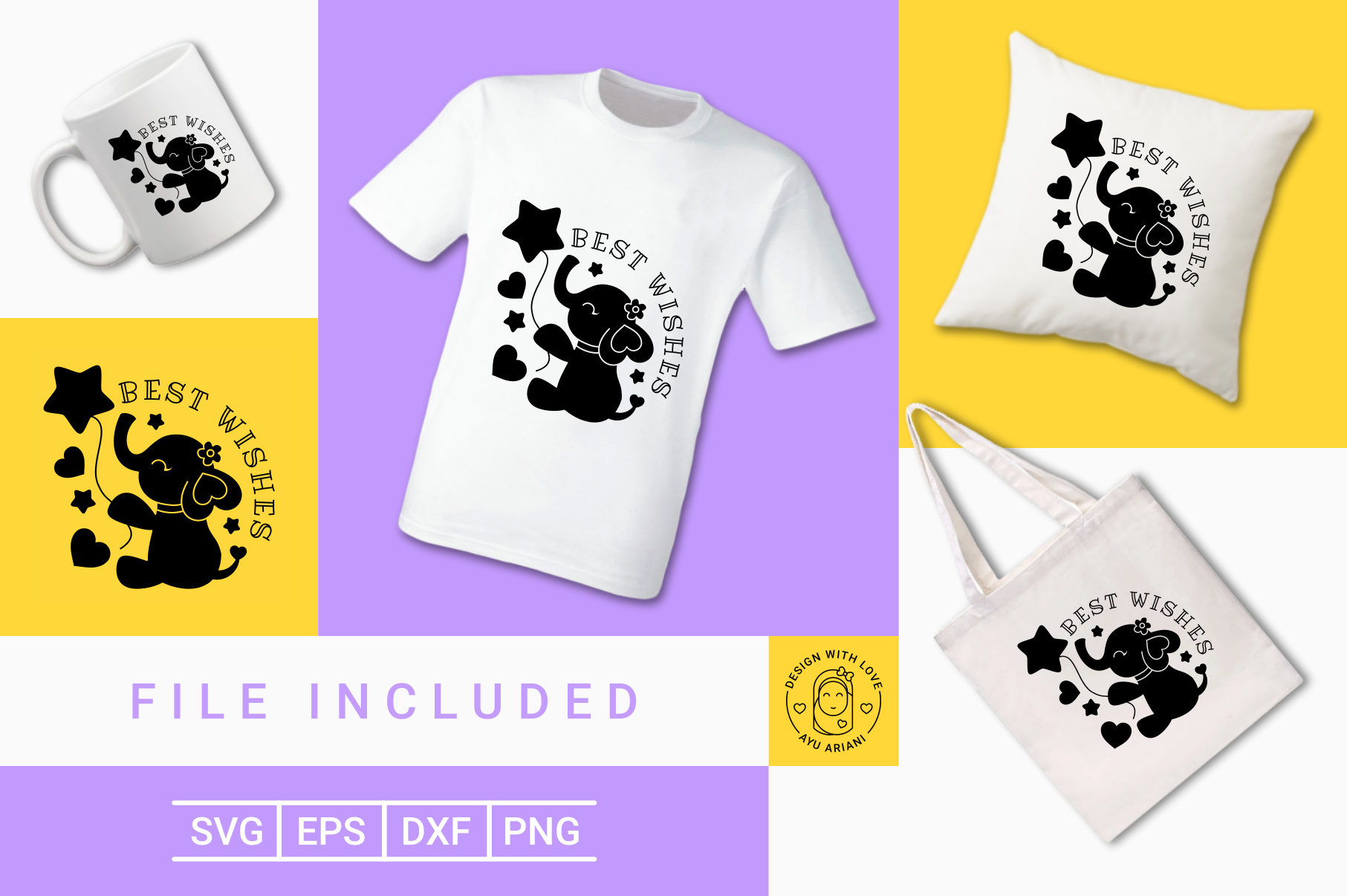 Elephant Best Wishes Silhouette Graphic By Ayuariani Creative