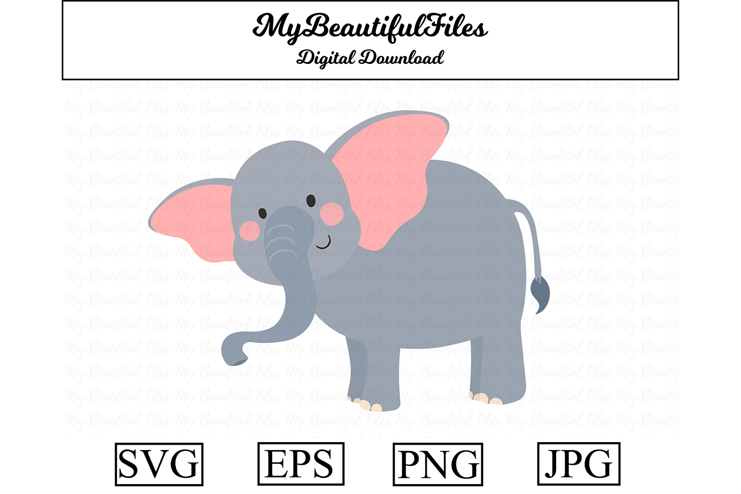 Download Free Elephant Cartoon Illustration Graphic By Mybeautifulfiles SVG Cut Files