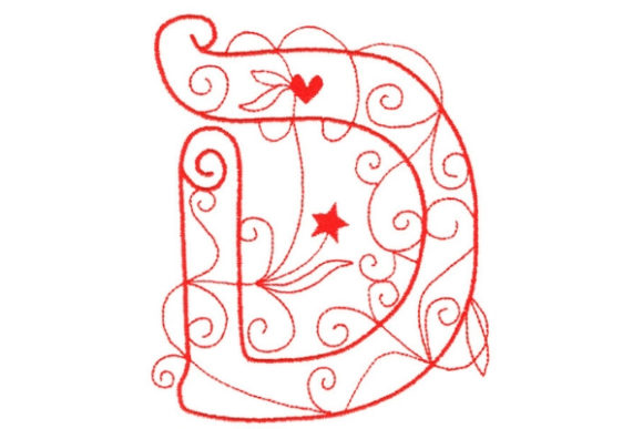 Enchanted Monogram D Wedding Monogram Embroidery Design By Sue O'Very Designs