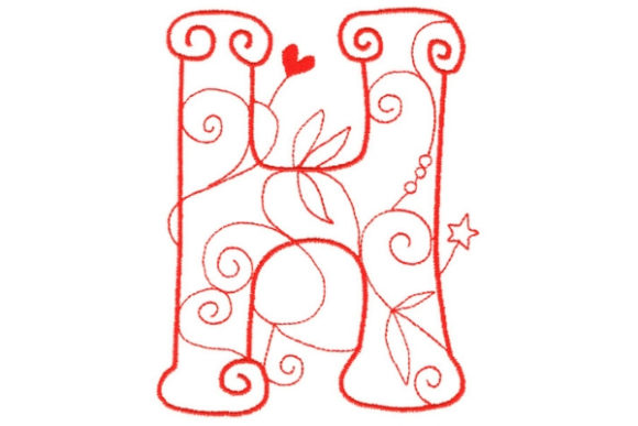 Enchanted Monogram H Wedding Monogram Embroidery Design By Sue O'Very Designs
