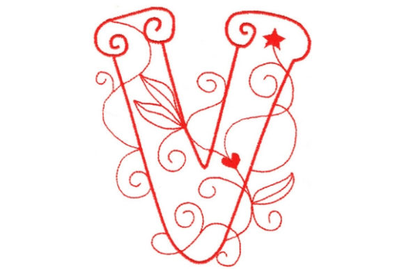 Enchanted Monogram V Wedding Monogram Embroidery Design By Sue O'Very Designs
