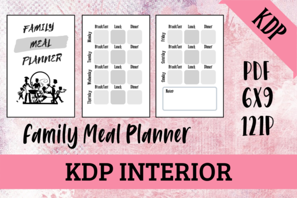 Print on Demand: Family Meal Planner | KDP Interior Graphic KDP Interiors By Hungry Puppy Studio