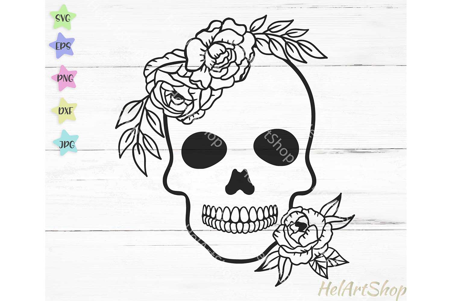 Download Free Floral Skull Grafik Von Helartshop Creative Fabrica for Cricut Explore, Silhouette and other cutting machines.