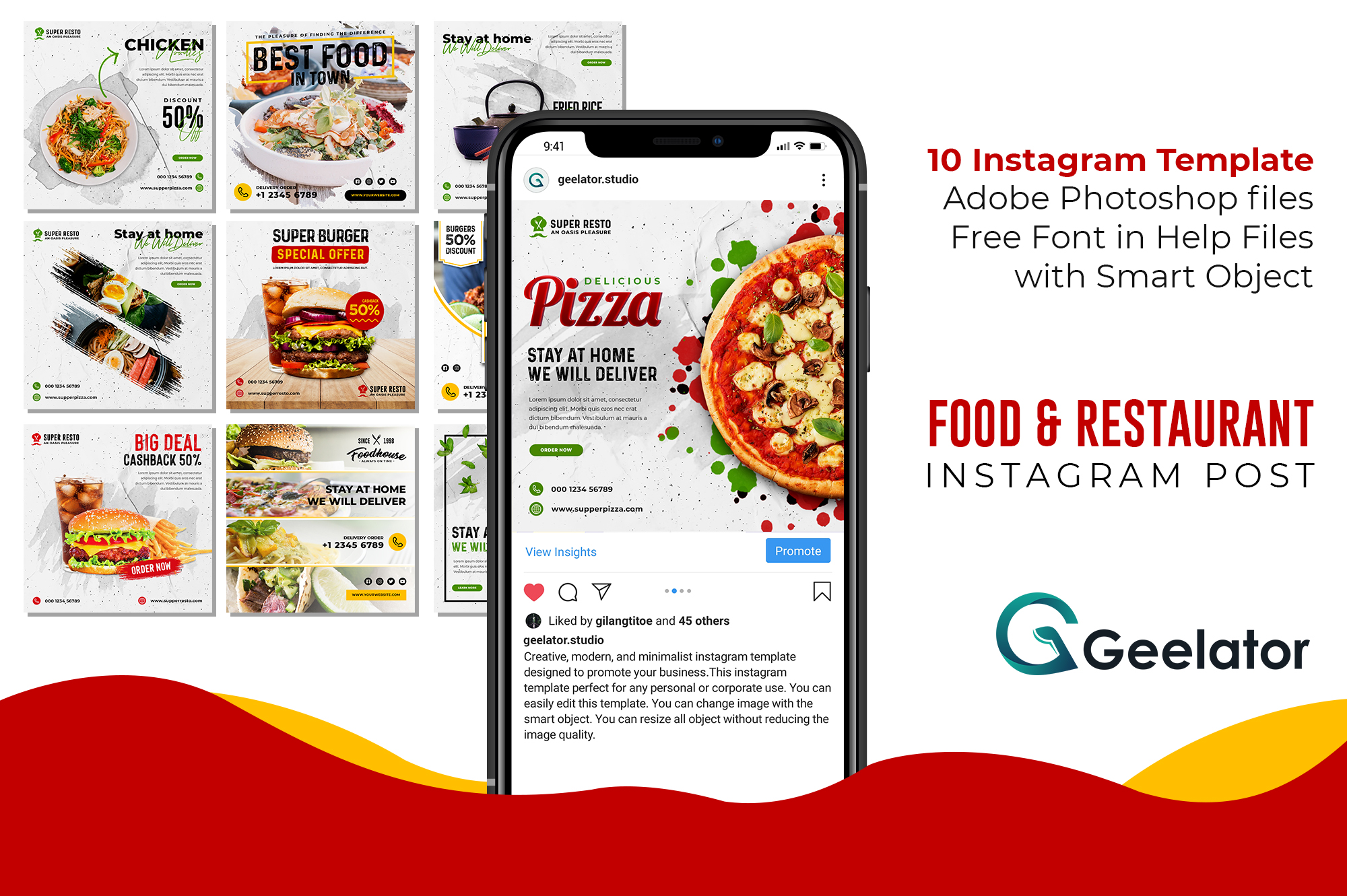 Download Free Food Restaurant Instagram Post Graphic By Geelator Creative for Cricut Explore, Silhouette and other cutting machines.