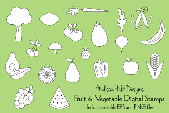 Download Free Fruit Vegetable Digital Stamps Clipart Graphic By Melissa Held for Cricut Explore, Silhouette and other cutting machines.