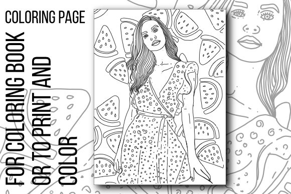 Print on Demand: Girl Coloring Page Graphic Coloring Pages & Books By stanosh