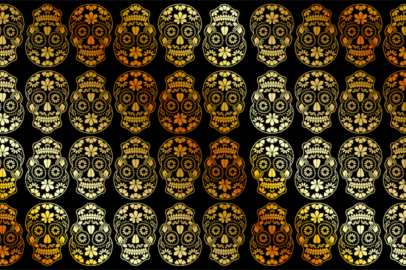 Download Free Golden Calavera Floral Skulls Graphic By Shawlin Creative Fabrica for Cricut Explore, Silhouette and other cutting machines.