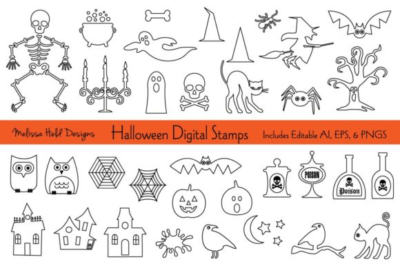 Download Free Halloween Digital Stamps Clipart Graphic By Melissa Held Designs for Cricut Explore, Silhouette and other cutting machines.