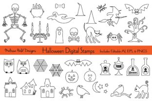 Halloween Digital Stamps Clipart Graphic Illustrations By Melissa Held Designs