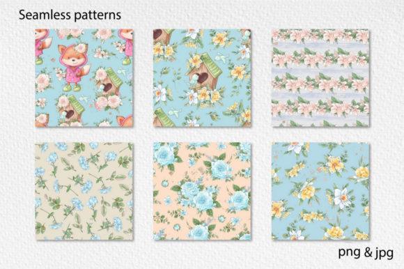 Print on Demand: Hello Spring Seamless Patterns Graphic Illustrations By nicjulia - Image 1