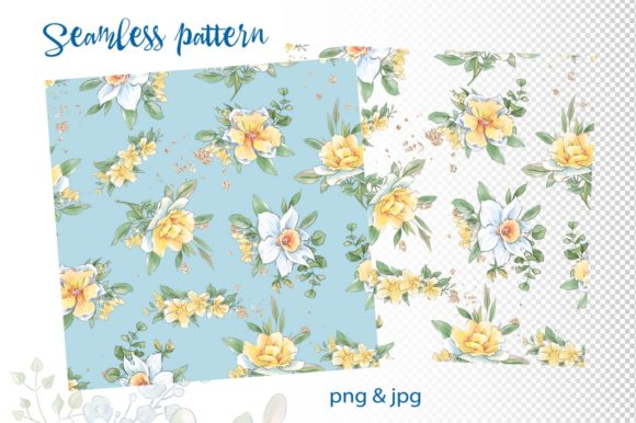 Print on Demand: Hello Spring Seamless Patterns Graphic Illustrations By nicjulia - Image 2