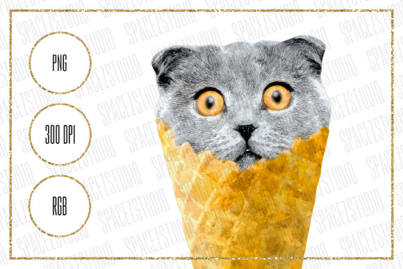 Print on Demand: Ice Cream Cat Clipart for Sublimation Graphic Crafts By Sabina Leja