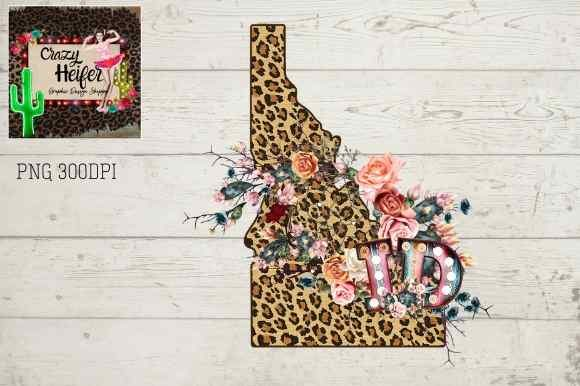Print on Demand: Idaho ID Leopard Cactus Serape Marquee Graphic Illustrations By Crazy Heifer Design Shoppe