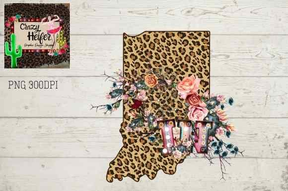 Download Free Indiana In Leopard Serape Marquee Graphic By Crazy Heifer Design for Cricut Explore, Silhouette and other cutting machines.