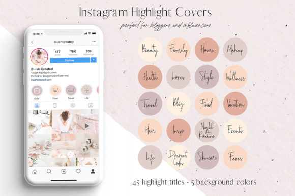 Download Free Pink Black Instagram Highlight Covers Graphic By Blush Created for Cricut Explore, Silhouette and other cutting machines.