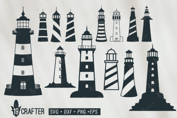 Print on Demand: Lighthouse Shore Watch Tower Bundle Graphic Crafts By great19