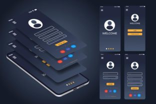 Print on Demand: Login and Register on Screen Graphic UX and UI Kits By Frog Ground
