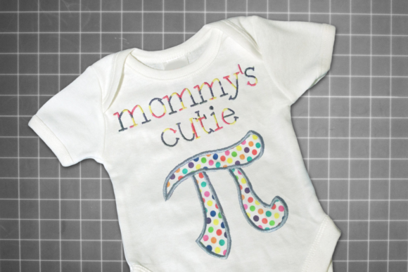 Mommy's Cutie Pi Symbol Applique Mother Embroidery Design By DesignedByGeeks