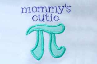 Mommy's Cutie Pi Symbol Applique Mother Embroidery Design By DesignedByGeeks 2