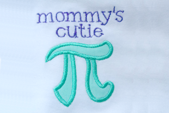 Mommy's Cutie Pi Symbol Applique Embroidery Download