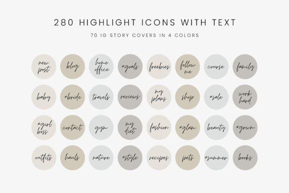Download Free Neutral Tones Ig Story Highlight Icons Graphic By Stylishdesign for Cricut Explore, Silhouette and other cutting machines.