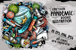 Download Free Pandemic Cartoon Illustration Graphic By Balabolka Creative Fabrica for Cricut Explore, Silhouette and other cutting machines.