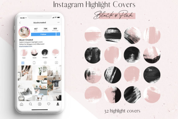 Pink & Black Instagram Highlight Covers Graphic Icons By Blush Created