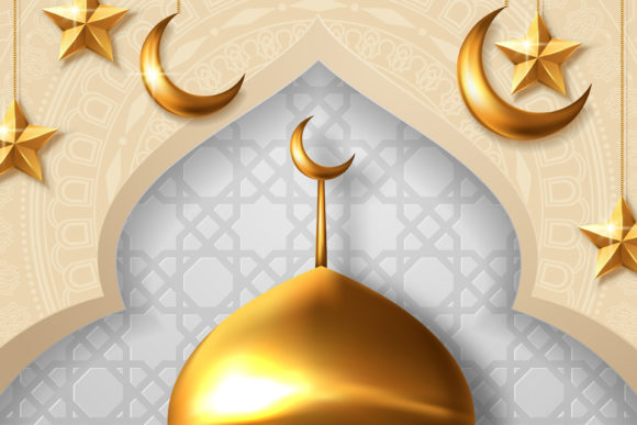 Download Free Ramadan Kareem Lantern Gradation Banner Graphic By Inkwellapp for Cricut Explore, Silhouette and other cutting machines.