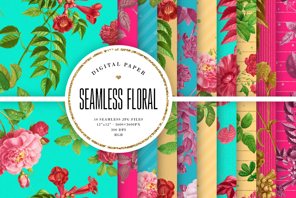 Download Free Seamless Floral Bright Vintage Patterns Graphic By Sabina Leja for Cricut Explore, Silhouette and other cutting machines.