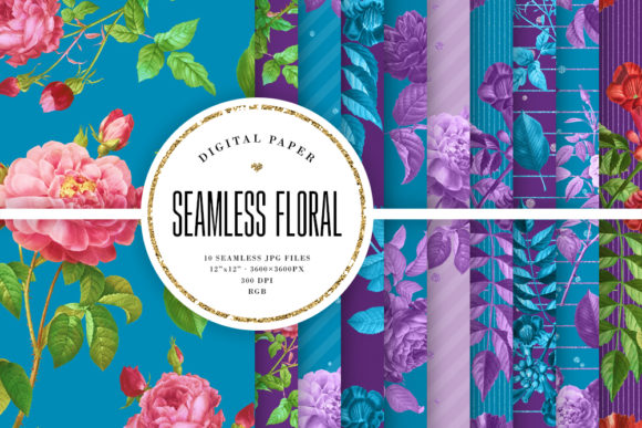 Print on Demand: Seamless Floral Patterns - Blue & Purple Graphic Backgrounds By Sabina Leja