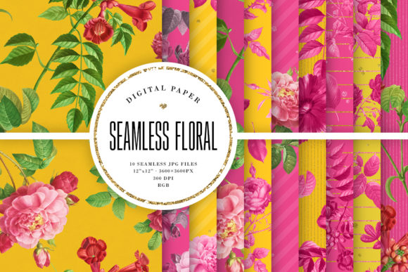 Print on Demand: Seamless Floral Patterns - Pink & Yellow Graphic Backgrounds By Sabina Leja