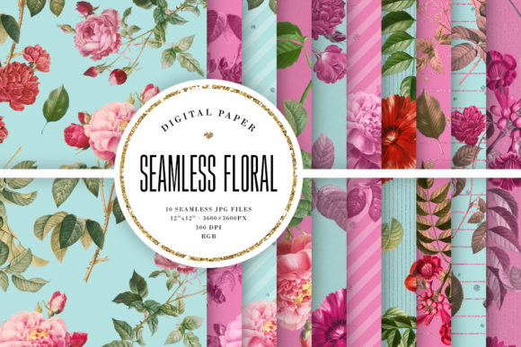 Print on Demand: Seamless Vintage Floral Digital Paper Graphic Backgrounds By Sabina Leja