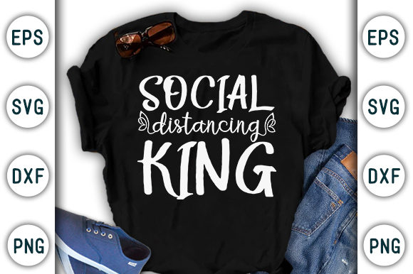 Print on Demand: Social Distancing King, Corona Design Graphic Print Templates By CraftStudio - Image 1
