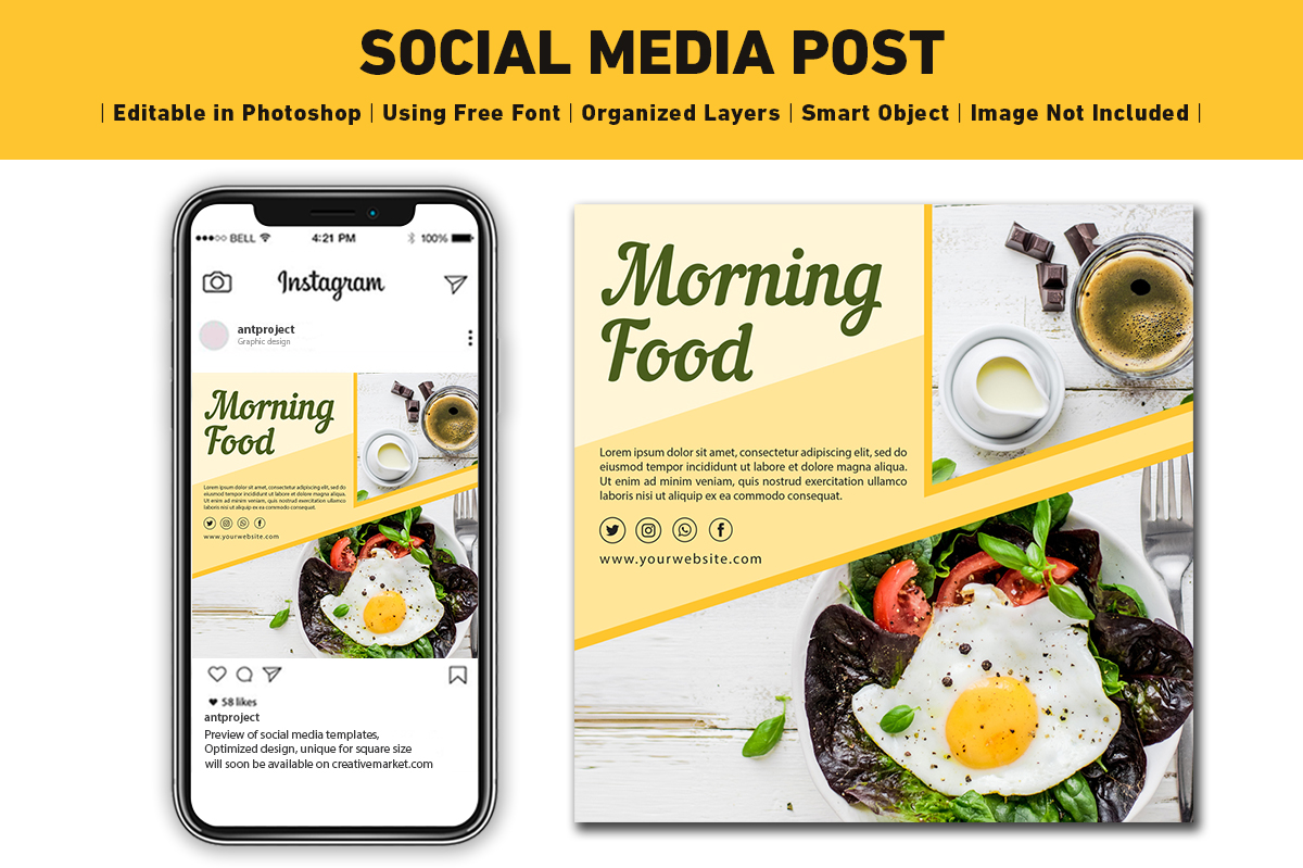Social Media Post Food Graphic By Ant Project Template