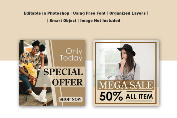 Download Free Social Media Post Sale Brown Graphic By Ant Project Template for Cricut Explore, Silhouette and other cutting machines.