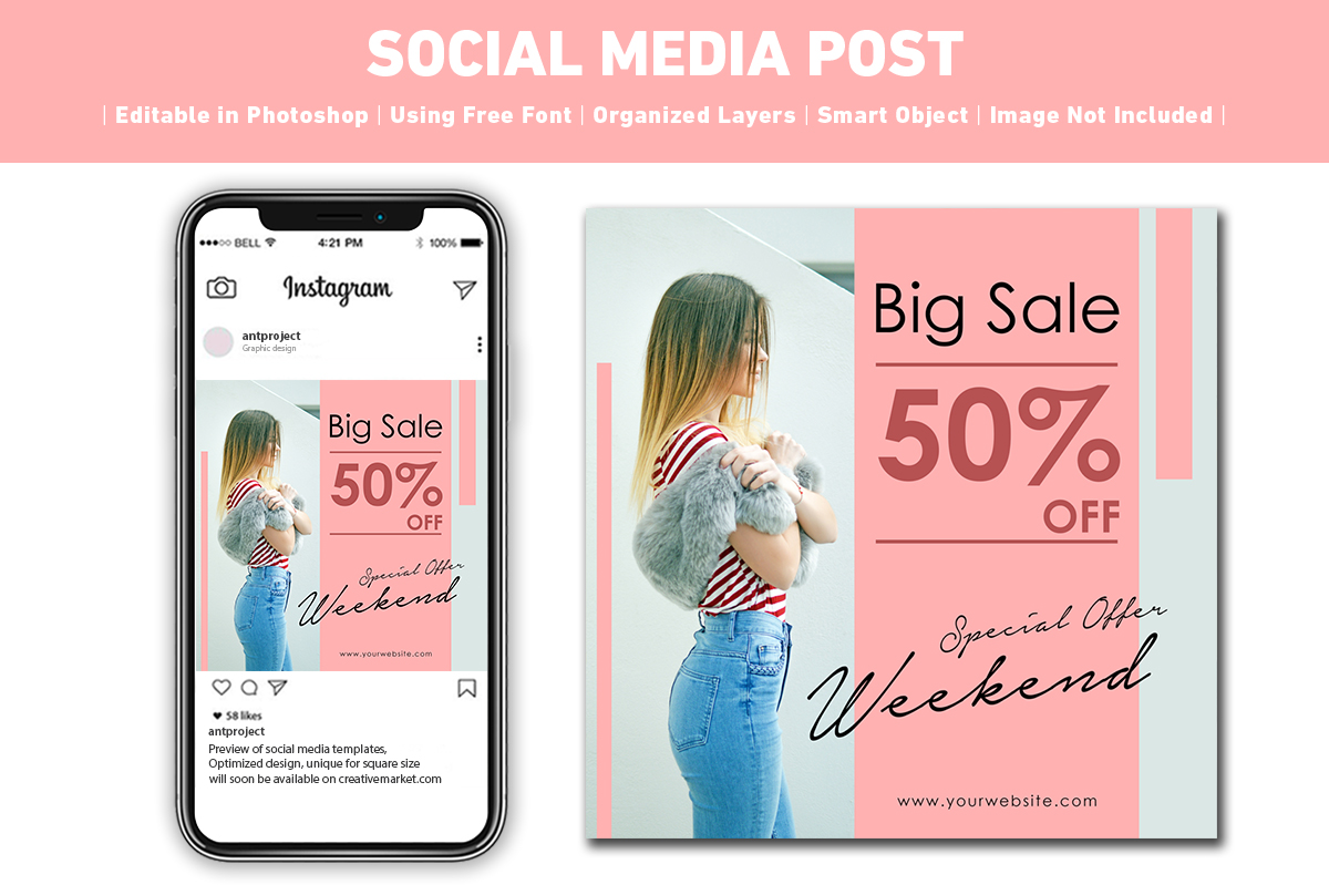 Social Media Post Sale Pink Graphic By Ant Project Template