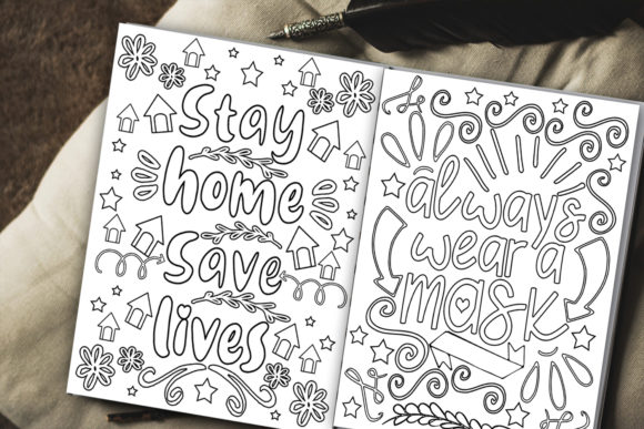 Print on Demand: Stay Home Coloring Pages Graphic Coloring Pages & Books Kids By Happy Printables Club - Image 2