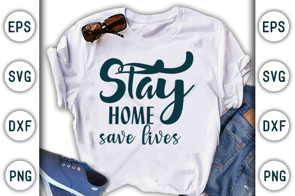 Download Free Stay Home Save Lives Corona Design Graphic By Craftstudio for Cricut Explore, Silhouette and other cutting machines.
