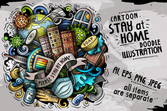 Stay at Home Cartoon Illustration Graphic Illustrations By BalabOlka