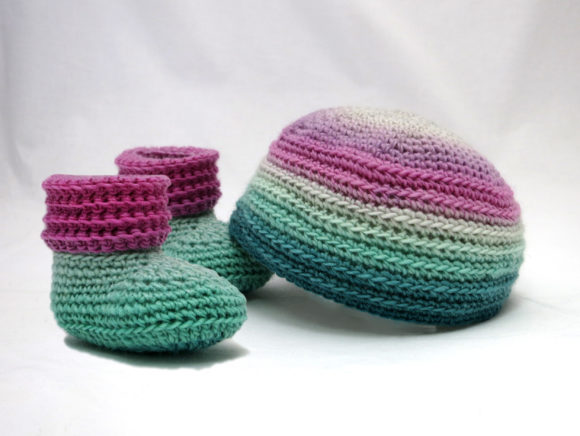 Sweet Baby Booties and Beanie Gift Set Graphic Crochet Patterns By Knit and Crochet Ever After