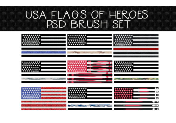 Download Free Usa Hero Flags Brush Set Graphic By Capeairforce Creative Fabrica for Cricut Explore, Silhouette and other cutting machines.
