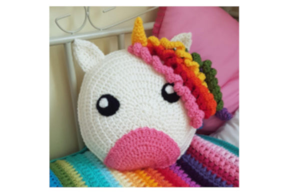 Unicorn Crochet Cushion Graphic Crochet Patterns By Tangle Tree Creative