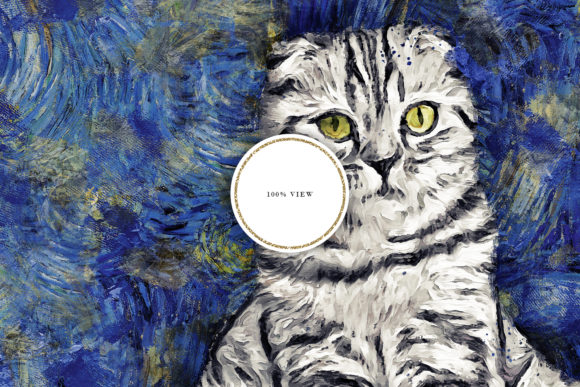 Download Free Van Gogh Cat Sublimation Design Graphic By Sabina Leja for Cricut Explore, Silhouette and other cutting machines.