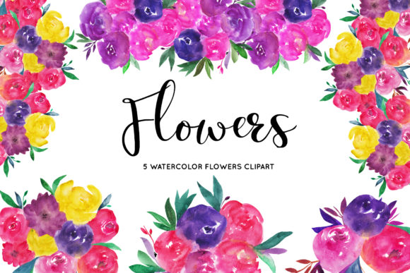 Watercolor Flower Clipart Graphic Illustrations By BonaDesigns