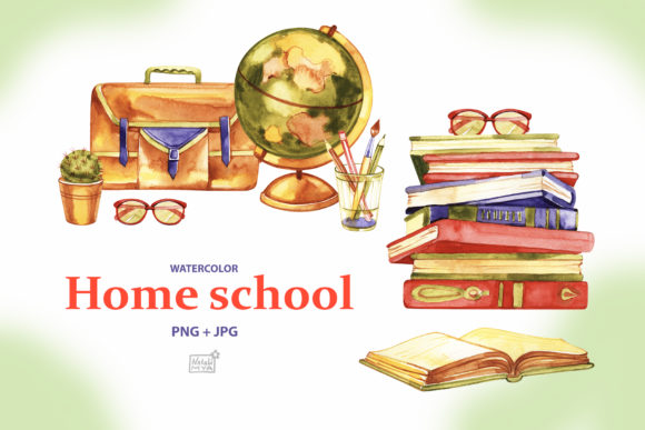 Watercolor Home School Cliparts Graphic Illustrations By NataliMyaStore