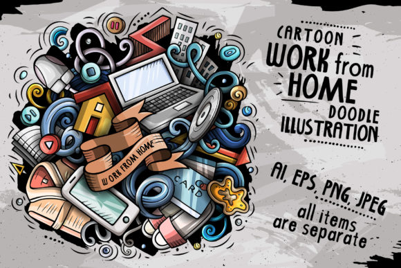 Work from Home Cartoon Illustration Grafik Illustrationen von BalabOlka